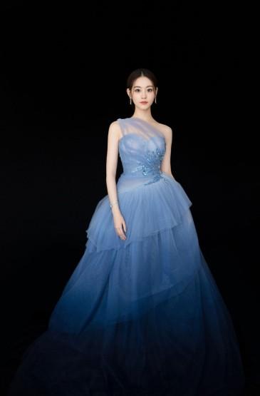 <祝緒丹藍色禮服紗裙性感寫真圖片