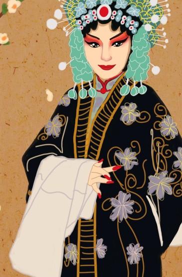 中國風戲曲手繪高清手機