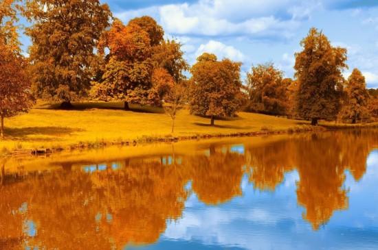 唯美四季湖泊倒影高清桌