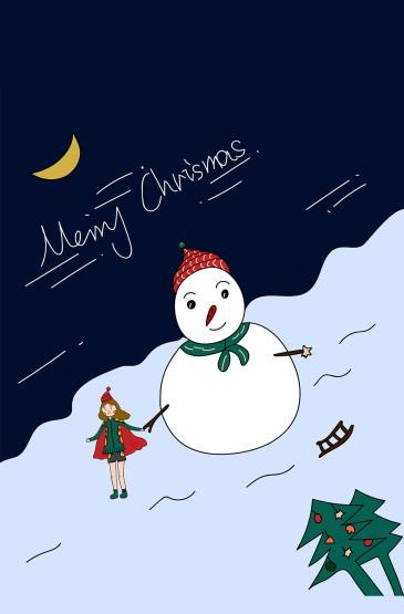 <全面屏圣诞手绘风景锁屏手机壁纸