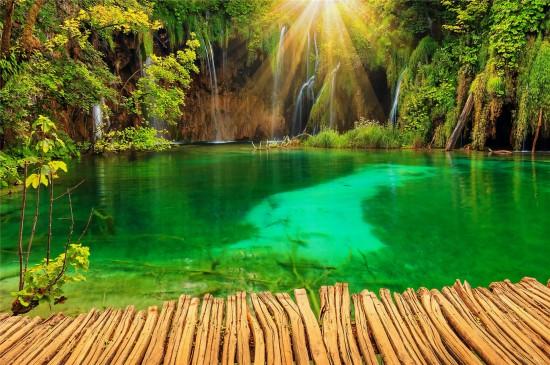 森林湖泊风景高清桌面壁