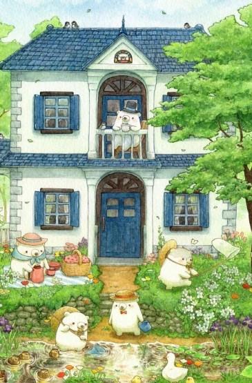 清新小熊插画手机壁纸