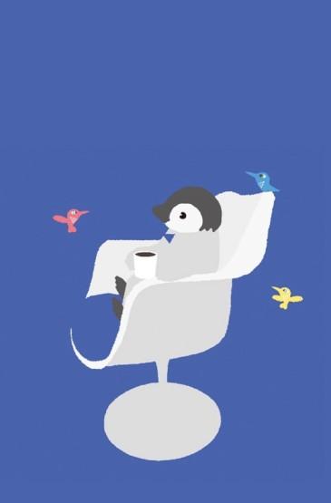 萌趣可爱企鹅手绘手机壁纸