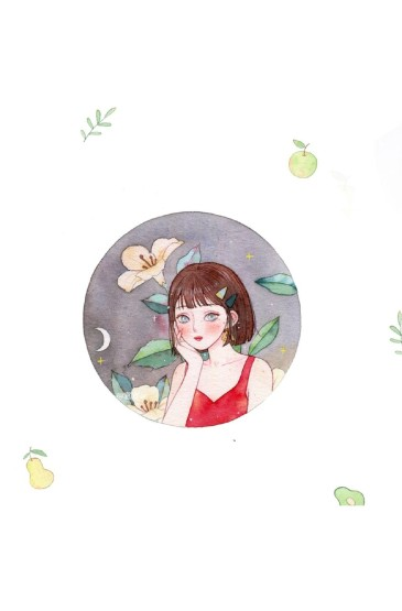 清新可愛女孩插畫頭像圖片