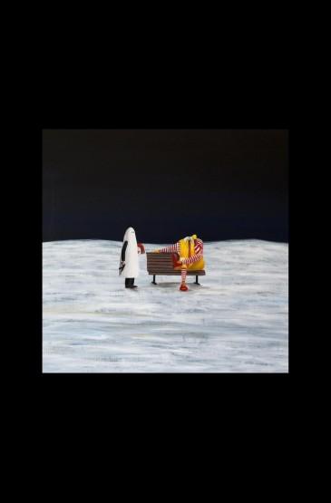 宇航员太空星球插画简黑手机壁纸