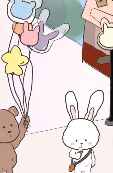 小熊與兔子可愛日常手繪