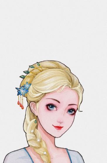 <迪士尼公主古風手繪高清手機壁紙