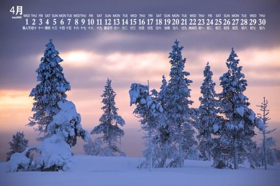 <2020年4月唯美雪景图片日历壁纸