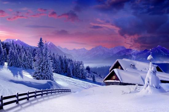 大雪后的小屋唯美高清桌面壁纸
