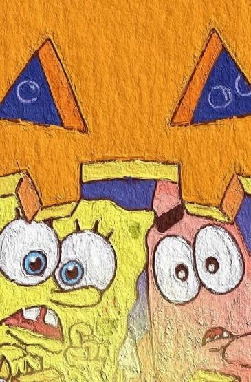 海绵宝宝清新可爱油画手机壁纸