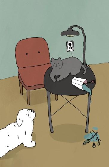 <小猫咪的日常插画手机壁纸
