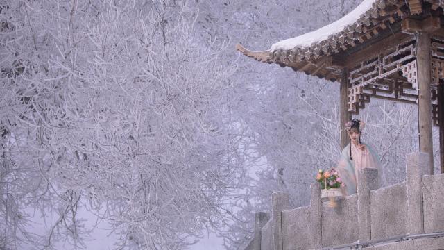 <纯情美女古风汉服清秀风韵唯美雪中写真