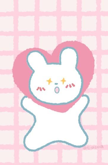 粉色清甜小兔叽可爱手绘