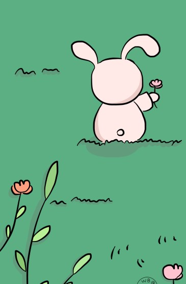 粉色可爱小兔叽萌趣手绘