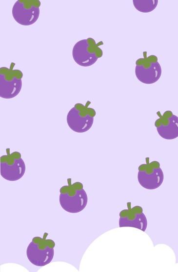 紫色梦幻可爱手绘手机壁