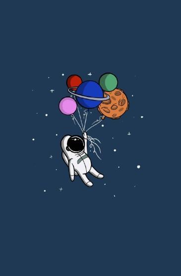孤独太空人手绘插画高清手机壁纸