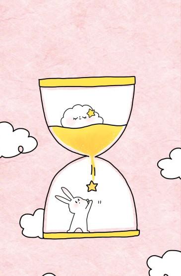 粉色兔子手绘可爱手机壁