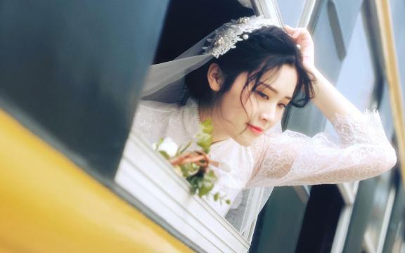 唯美仙气美女幸福甜美纯白婚纱照